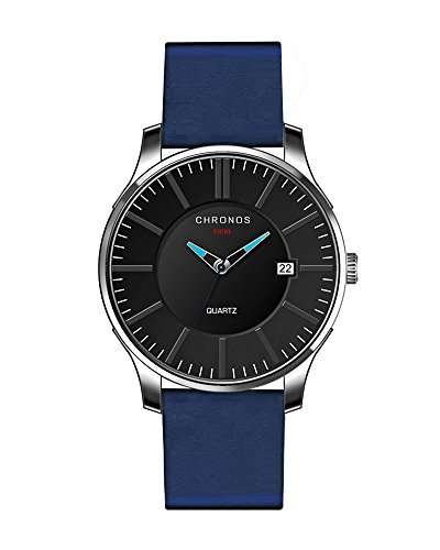 Chronos CH13orologio da uomo con funzione data in vera pelle orologio impermeabile