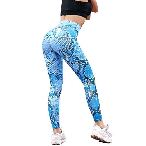 Xmiral Leggings Push up Leggings Donna Leggings a Vita Alta a serpentina Pantaloni da Yoga a Rete Donna in Seta a Rete L Blu