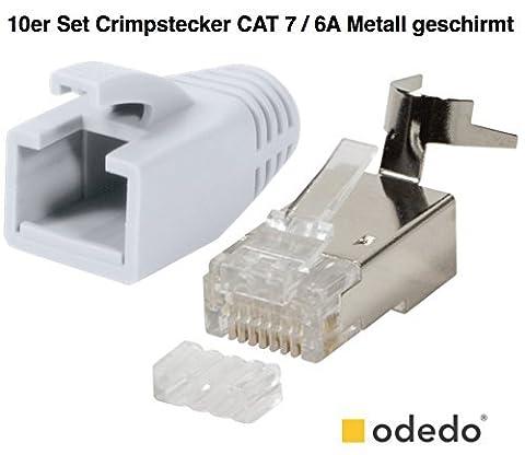 odedo® 10er Pack Crimpstecker weiß CAT 7, CAT 7A, CAT 6A für Verlegekabel bis 8mm 10GBit Gigabit Ethernet starre oder flexible Adern 1.2mm-1.45mm RJ45 Stecker Metall geschirmt mit Einfädelhilfe