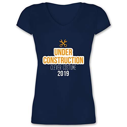 Karneval & Fasching - Under Construction Clever Costume 2019 - XXL - Dunkelblau - XO1525 - Damen T-Shirt mit V-Ausschnitt