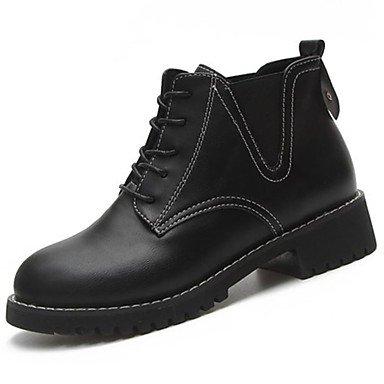 Rtry Femmes Chaussures Pu Hiver Confort Mode Bottes Bottes Chunky Talon Bout Rond Mi-veau Bottes À Lacets Pour Casual Noir Kaki Us5.5 / Eu36 / Uk3.5 / Cn35