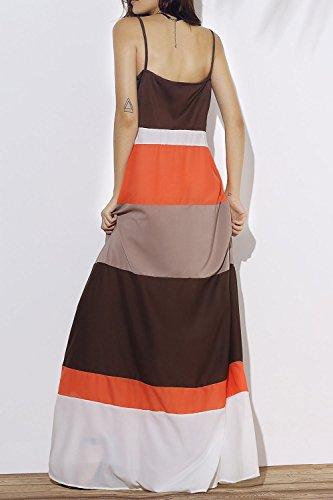 Damen ärmellose Streifen Patchwork Colorblock Strand Bohemian Kleider Maxi Kleider Orange