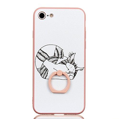 Voguecase Pour Apple iPhone 7 4,7, Bague Support à 360 degrés TPU avec Absorption de Choc, Etui Silicone Souple Transparent, Légère / Ajustement Parfait Coque Shell Housse Cover pour Apple iPhone 7 4, Pink-Asleep Cat