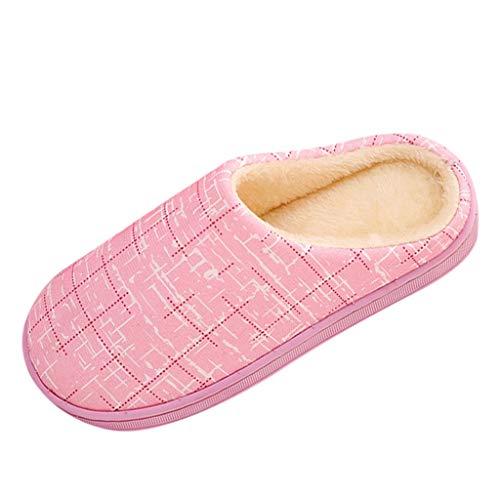 LILIGOD Frauen Herren Warme Hausschuhe Paare Gestreifte Herde Slipper Winter Plüsch Hausschuhe Bequeme rutschfeste Baumwolle Schuhe Mode Flache Bodenschuhe -