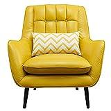 Weijl Sofá Silla de Cuero Retro del Arte Moderno nórdico pequeño sofá Sencilla Americana Estudio Ocio,Amarillo