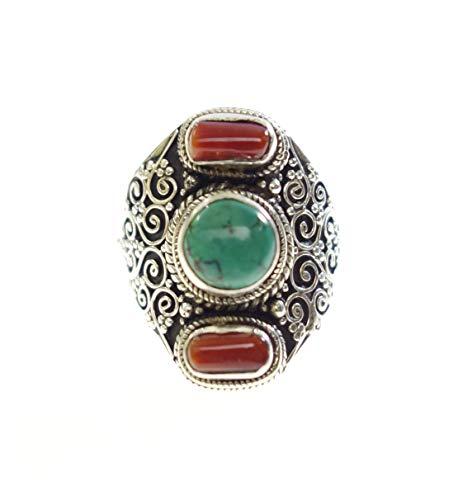 Tibetan silver, genuino rosso corallo e turchese pietra preziosa moda dito anello per donne ragazze, 925 sterlina argento etnici regolabile filigrana progettista anello, fatti a mano anello gioielli