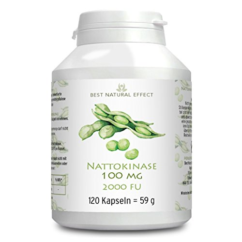 Nattokinase 100mg, 120 vegane Kapseln mit 2000 FU, KEIN Vitamin K+K2 || Best Natural Effect (Natürlich Vitamine Nattokinase)