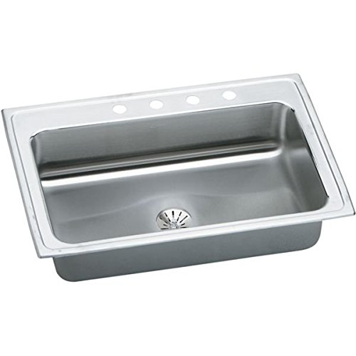 Bowl Top Mount Kitchen Sink (Elkay LRS3322PD1 18 Gauge Stainless Steel 33 x 22 x 7.625 Single Bowl Top Mount Perfect Drain Kitchen Sink Kit with 1 Faucet Hole by Elkay)