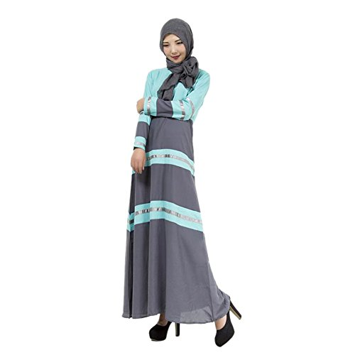 Meijunter Femme Lin Abaya Musulman Manche longue Maxi Dress Islamic Patchwork Couleur Robes blue
