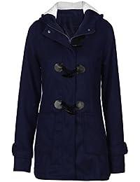 Grande Taille Trench-Coat Femmes,Binggong Femmes Manteaux à Capuche Bouton  Corne Blouson Veste fdcffa180b5b