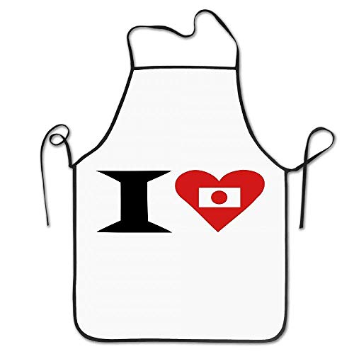 dhdhgdfj Schürzen Küchenschürze Lovely Restaurant Polyester Apron for Men I Love in A Japanese Style Polyester Adjustable Adults Bibs Polyester Apron Gifts Pink Cooking Grilling Apron for Women Men U