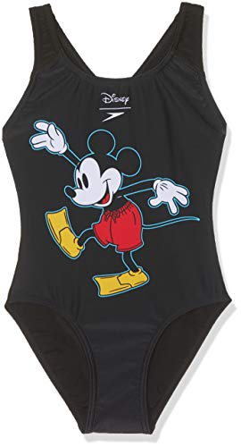 Speedo Mädchen Disney Mickey Mouse Badeanzug, Surfmickey Black/Red/Yellow, 152 (Junior-mädchen-badeanzüge)