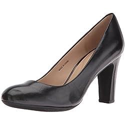 Geox D NEW MARIECLAIRE HI - zapatos de tacón cerrados de cuero mujer, color negro, talla 38,5