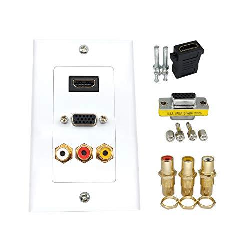 Vertrieb und Organisation Wand-Teller-,Composite HDMI VGA 3RCA Audio Video Adapter-, Unterstützung Ausgang 1080P, Größe 115 mm x 70 mm QiCheng&LYS Vga Composite-video-adapter