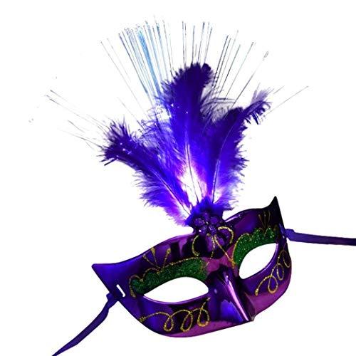 Gangsta Kostüm Lady - Mmhot-mj LED Faser Federmaske Maskerade Phantasie Cosplay Karneval Kostüm Zubehör Dekoration Prop (Farbe : Purple)