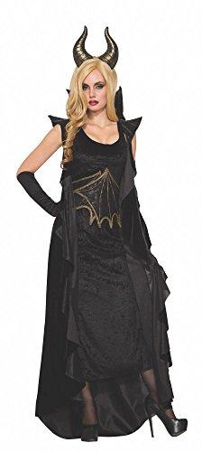shoperama Aphrodite Gold Dragón Lady Disfraz para Mujer Talla 36/38Negro Dragón Reina Vestido Halloween
