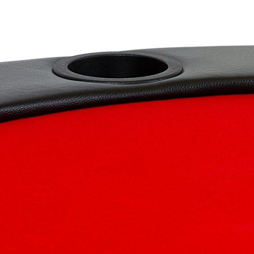 Maxstore Deluxe Faltbare Pokerauflage mit Tasche, 208x106x3 cm, MDF Platte, Gepolsterte Armauflage, 10 Getränkehalter - 6