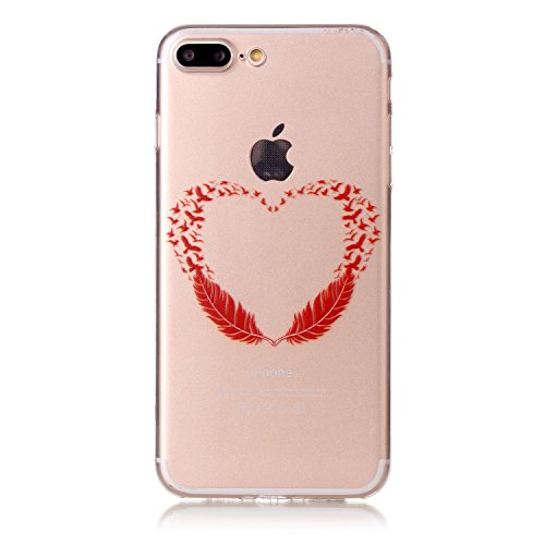 "Aeeque® Ultra Mince Coque de Protection TPU Silicone Case pour Téléphone Portable iPhone 8 Plus Anti Rayure Rose Motif Design Anti Choc Bord Cristal Housse pour iPhone 7 Plus/ iPhone 8 Plus 5.5"" B - Plume Rouge Coeur"