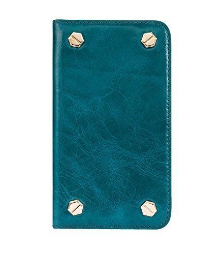 Melkco Premium Cow Leather Hex-shine Series Case Book Style für Apple iPhone 6 14 cm (5,5 Zoll) traditional vintage braun Oliver Blau 2