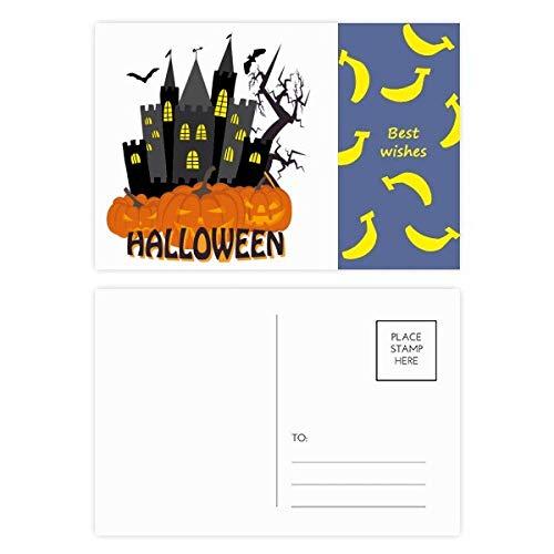Hallowmas Scary Castle at Night Banana Postkarten-Set mit Danksagungskarte, 20 Stück