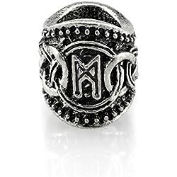 Cuenta con runa Mannaz metal plateado
