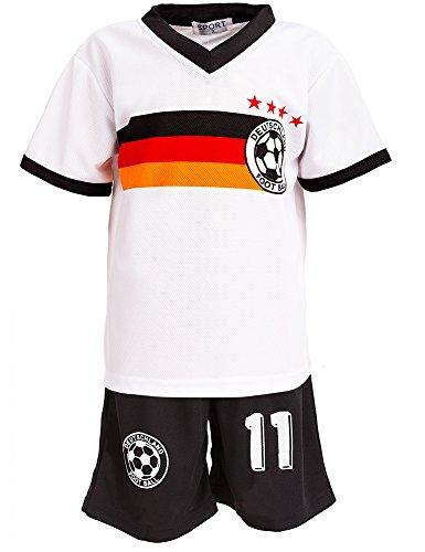 24brands - Jungen Fußball Set 2 Teilig Trainings Trikot Deutschland Italien Brasilien Spanien Türkei Schweiz Ländertrikot - 2630, Größe:104-110;Farbe:Deutschland Weiß