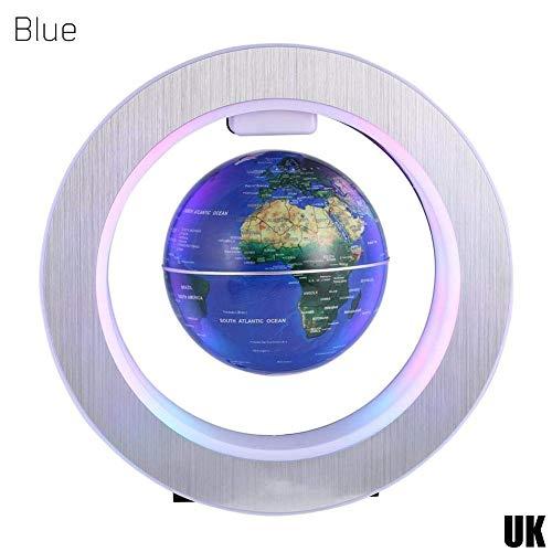 Eulan Magnetic Levitation Floating Globe, O-Shaped Luminous Auto-Rotation Globe Gift Ornaments Decoration (Blue)