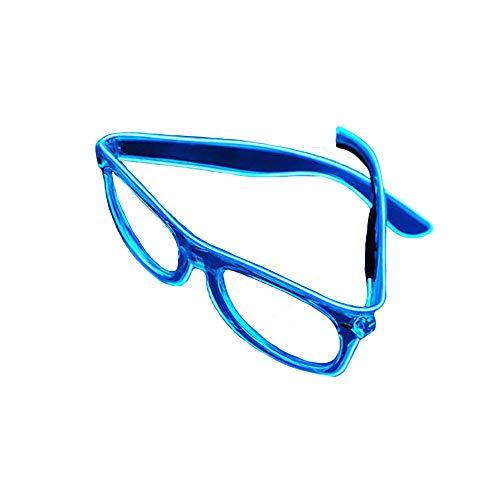 Veeki, LED-Draht-Brille mit beleuchteten Gläsern, LED-Neon-Brille für Partys, Kostümfeste, Bälle, Diskos, Halloween, Geburtstage, Festivals blau