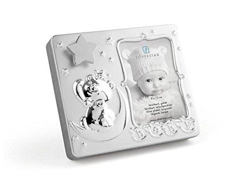 Zilverstad Fotorahmen Baby, mit Spielurh, Metall, Silberfarben, 5.6 x 18.4 x 16 cm