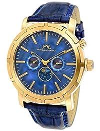 0f3f37a4502a6d Porsamo Bleu NYC luna in vera pelle color oro & blu orologio da polso con  fasi