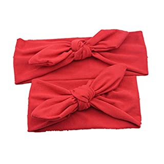 ALCYONEUS Baby Mother Headband Set Turban Bowknot Elastic Solid Color Hair Band Headwear (Red)