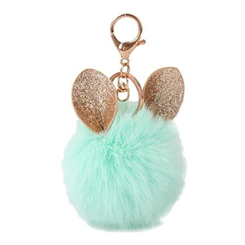 Süße elegant farbenfrohe Plüsch Schlüsselanhänger, Y56Ohr Kaninchen Fell Kugel Fox Tasche Plüsch Auto Schlüsselanhänger Key Ring KFZ Schlüssel Anhänger 8cm, grün