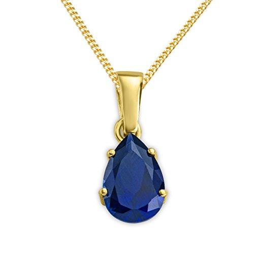 Miore Kette - Halskette Damen Gelbgold 9 Karat / 375 Gold Kette  Saphir  45 cm