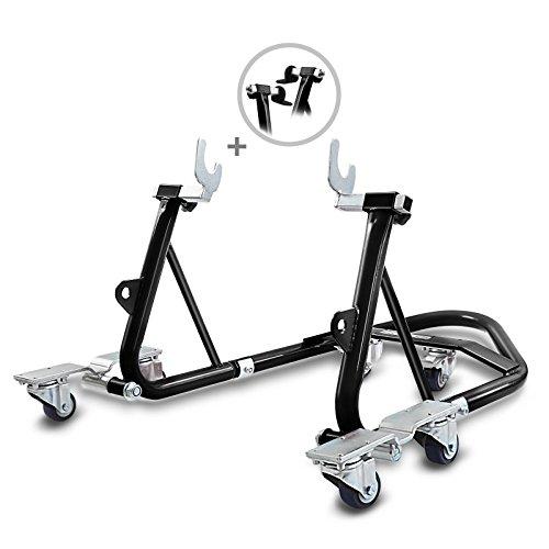 ConStands Mover I - Motorrad Montageständer Hinten Rangierhilfe Hinterrad-Ständer Heber Universal hinten Schwarz