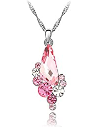 NEVI Crystals From Swarovski Rhodium Plated Sparkling Floral Valentine Gift Pendant With Chain For Girls & Women