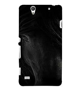 PrintVisa Black Beauty Horse Animal Design 3D Hard Polycarbonate Designer Back Case Cover for Sony Xperia C4 Dual