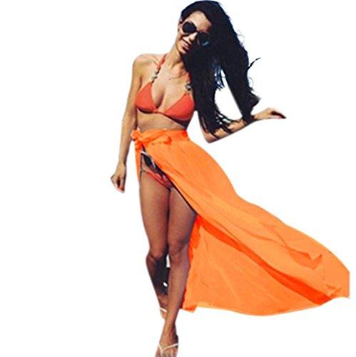LCLrute Qualitäts Gewellter Strandrock Frauen-Bikini-Abdeckungs-Badebekleidung Sheer Beach Maxi Wickelrock-Sarong-Pareo-Kleid (Orange)