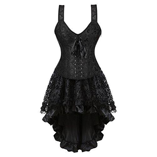Korsett Kleid Schwarz Vollbrust Mit Träger Corsagenkleid Lang Spitenrock Petticoat Burlesque M