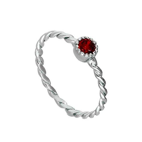 Sterlingsilber & Granat CZ Kristall Januar Geburtsstein Gedrehtes Seil Ring Größe 55 (Erhältlich 48 - 63) (Geburtsstein Januar-ring)
