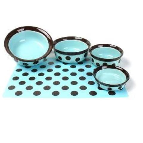 Rosewood Stoneware Dish Spot Pet Dish, 7-inch, Teal/