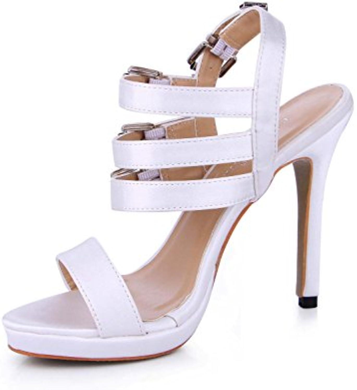 Best 4U® Frauen Sommer Sandalen Faux Silk Peep Toe Low Cut 12 CM High Heels Gummisohle Schnallen Pumps Weißszlig;