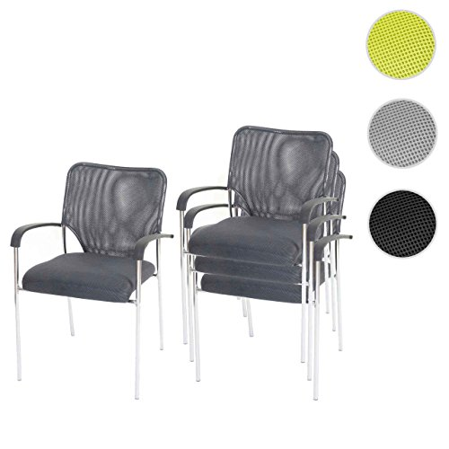 4x Besucherstuhl Tulsa, Konferenzstuhl stapelbar, Textil ~ Sitz grau, Rückenfläche grau