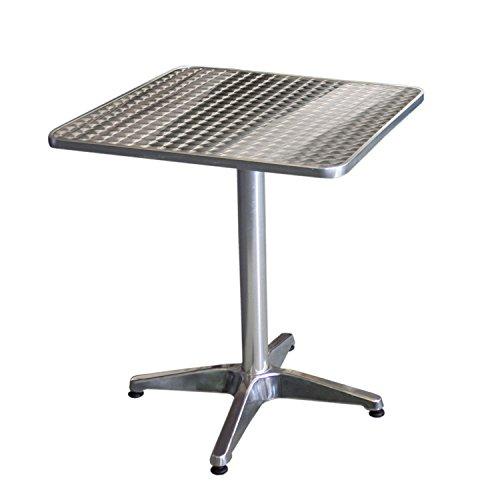 Wohaga Bistrotisch, Aluminium, 60x60cm, 4er-Fuss, klappbar, Tischplatte in Schleifoptik / Gartentisch Klapptisch Beistelltisch Balkontisch Gartenmöbel Balkonmöbel Terrassenmöbel