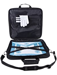 Freemasons Set of Master Mason Apron in Lamb Skin, Soft FULL Case in Cordura and Pair of Cotton Gloves