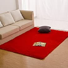 qwer Hogar moderno minimalista dormitorio Salón alfombra color sólido rectangular mosaico completo sedosos sofás mats ,180*200 cm rojo grande
