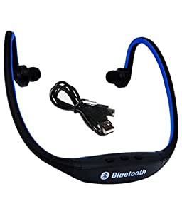 M-STARK Archos 50f Helium Lite Compatible Wireless Bluetooth Headset On-ear Sports Headset Headphones (with Micro Sd Card Slot and FM Radio) BLUE