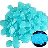 YiyiLai 50 Stück Leuchtsteine,Leuchtende Kieselsteine Leuchtkiesel Floureszierende Pebble Steine für Aquarium/Garten/Kinderzimmer Blau