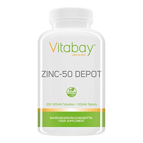 Zinc-50 Depot - 25 mg Zink (Elementargehalt) pro 1/2 Tablette - aus reinem hochdosierten Zink Gluconat - 100{f5c18d3bcf9af81b9f2e61f3bf39db8d026f6f5b9bc04948dcf88bc25e233170} Vegan - 250 XXL vegane Tabletten