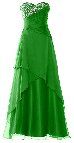 MACloth Strapless Long Prom Dress Crystals Tiered Chiffon Formal Evening Gown Green