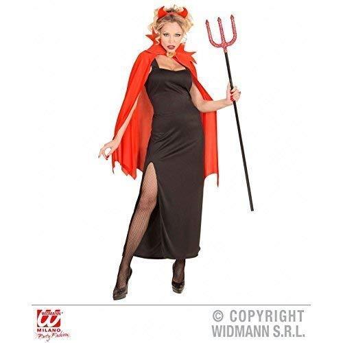 Schwarz Kleid Teufel Kostüm Mit - Lively Moments Kostüm Flame Devil Girl / schwarzes Kleid mit Umhang und Teufelshörnern / Damenkostüm / Teufelkostüm / Halloweenkostüm Gr. XL = 44